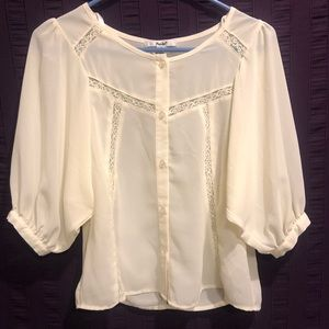 Cream Peasant Blouse. NWOT